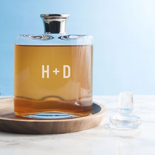 LSA Monogrammed Platinum Necked Decanter